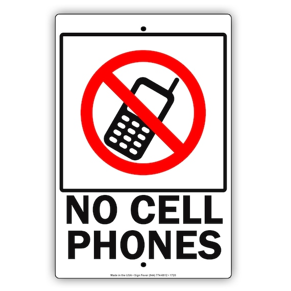 No Cell Phone Zone No Electronics In This Area Aluminum Metal Etsy