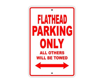 FLATHEAD Parking Only Motorcycle Bike Chopper Aluminum Sign
