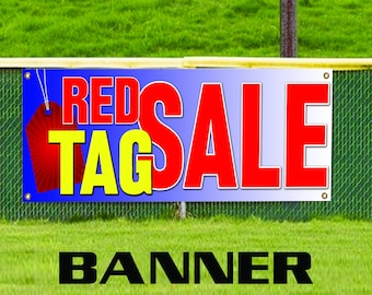 Red Tag Sale Promotional Business Discount Offer Advertising Vinyl Banner Sign