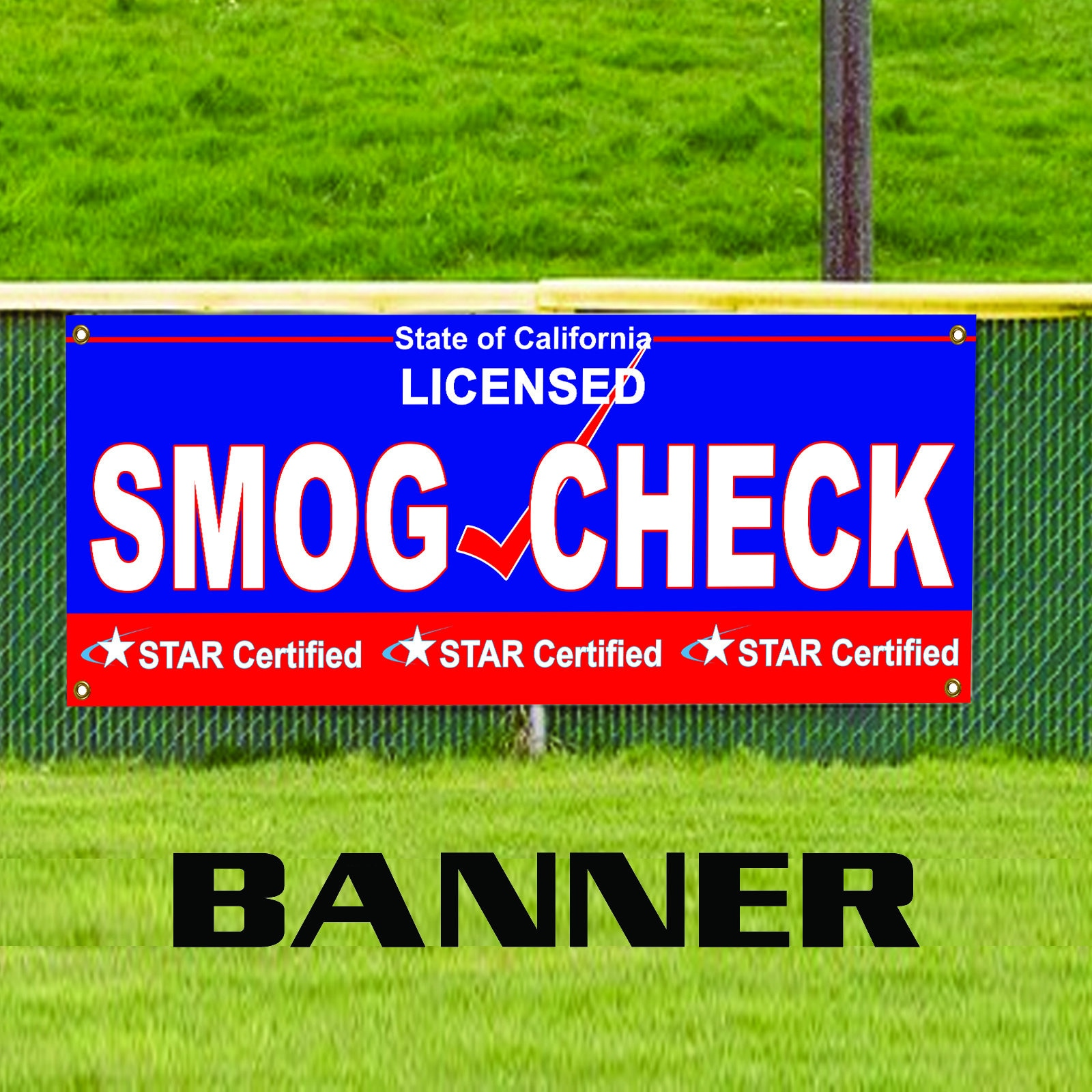 Smog Check Licensed State Of California Star Certified Banner Etsy