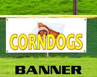 Corn Dogs Steak Restaurant Food Stand Bar Retail Advertising Vinyl Banner Sign