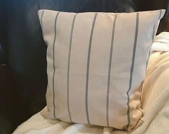 ticking stripe pillow, blue ticking stripe, envelope pillow cover, home decor pillow, 18 x 18, farmhouse style, living room decor