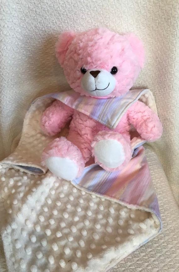 Bear Lovey Stuffed Bear Minky Dot Blanket Girl Baby Gift Etsy