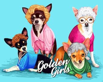 The Golden girls Custom Dog Portrait From Photo Comics style Comics Dog Portrait Funny portrait