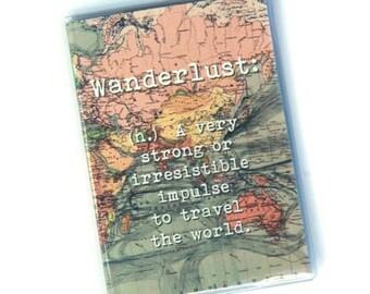 Passport Cover, Passport Holder, Travel Gift, Wanderlust - Very Strong or Irresistible Impulse to Travel the World. Passport Case, Vintage