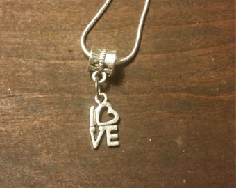 Silver love necklace