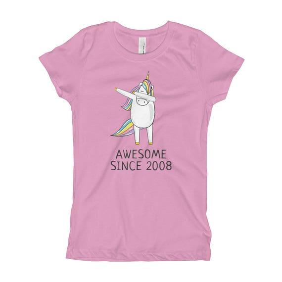 Kids Youth Dab Unicorn Rainbow Customized O-Neck T-Shirt Tee for Girls Black