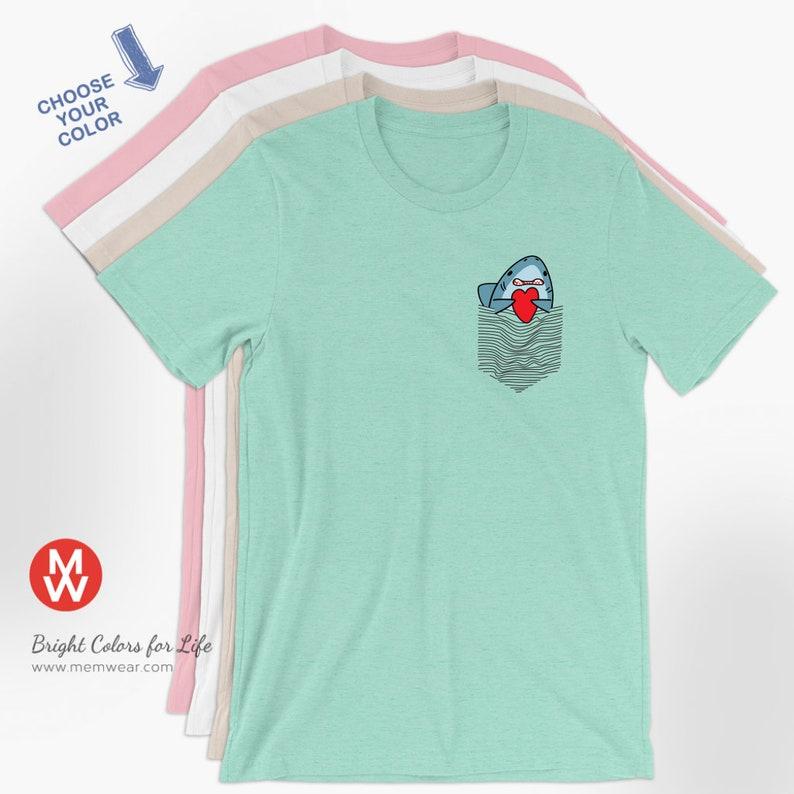 aa87b273e Shark Shirt Funny Shark in a drawn pocket Nature | Etsy