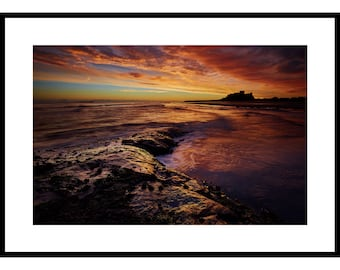 Bamburgh, Fine Art Prints, Bamburgh Castle,Dawn, Nothumberland, Sea,Coast, Clouds, Sunrise, Dramatic Sky, Castle, Rocks, Waves,  Beach
