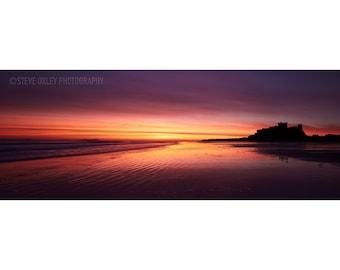 Bamburgh Castle, Fine Art Prints, Bamburgh, Dawn, Nothumberland, Sea,Coast, Clouds, Sunrise, Dramatic Sky, Castle, Ripples,  Beach, Orange