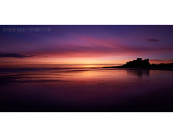 Bamburgh Castle,Bamburgh, Fine Art Prints, Nothumberland, Dawn, Sea,Coast, Clouds, Sunrise, Dramatic Sky, Castle, Ripples,  Beach, Orange