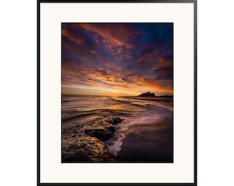 Bamburgh, Fine Art Prints, Bamburgh Castle, Dawn, Nothumberland, Sea, Coast, Clouds, Sunrise, Dramatic Sky, Castle, Rocks, Waves,  Beach
