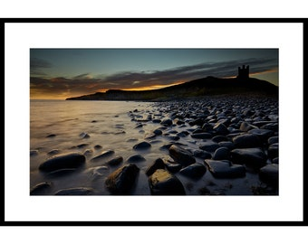 Dunstanburgh Castle, Nothumberland, Fine Art Prints, Sea, Coast, Clouds, Dramatic Sky, Waves, Long exposure, Castle, Beach, Dawn, Pebbles