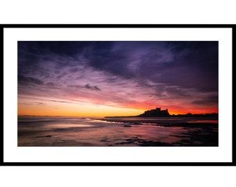 Bamburgh Castle, Bamburgh, Fine Art Prints, Nothumberland Coast, Dawn, Sea, Sunrise, Castle, Beach, Reflections, Red sky