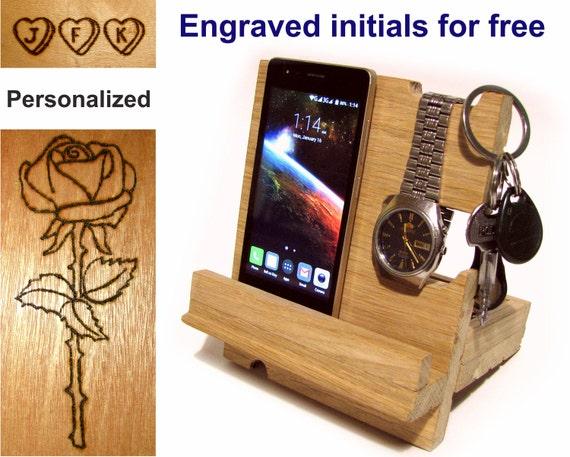Docking Station Wood Phone Stand Men Holder Wooden Gifts