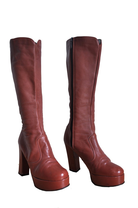 1970's vintage womens rust brown color glam rock p