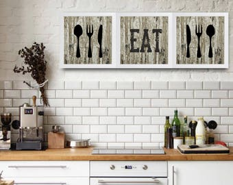 Set Of 3, Printed And Framed Wall Art, Quote For The Kitchen, Wall