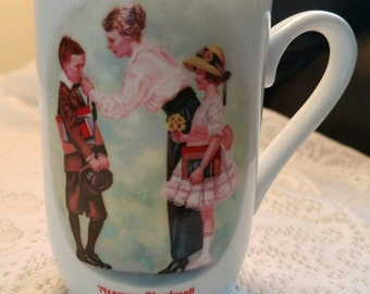 """Vintage Norman Rockwell Coffee / Tea Cup """"The First Day of School"""" 1986"""