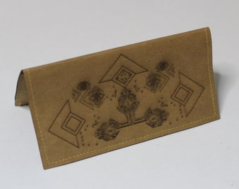 eee5184bce8bb Brown tobacco pouch with laser etched geometry patterns made of Washpapa  (washable paper - Vegan leather)