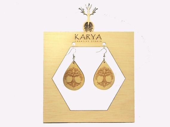 14k Gold Sacred Geometry Small Icosahedron Black Walnut Wood Laser Cut Earrings