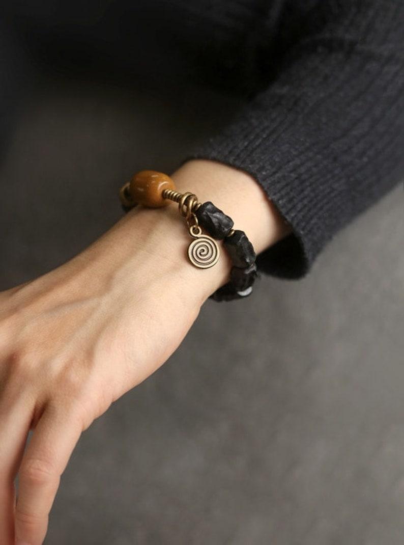 Hand-carved ebony bracelet