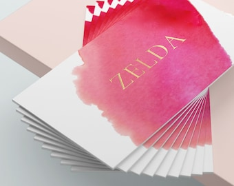 Watercolour Business Cards, Pink Business Cards, Gold Business Card, Gold Foil, Classy Business Card, Feminine Business Cards, Card Template
