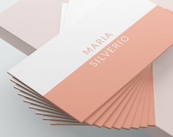 White and Peach Business Card Design, Business Card Template, Premade Business Card, Printable Business Card, Coral, Rose Gold, Peach