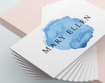 Blue Watercolour Business Card Design, Blue Business Card, Premade Business Card, Printable Business Card, Calling, Business Card Template