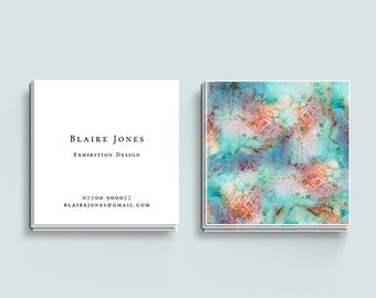 Watercolour Business Card, Square Business Card, Ocean Business Card, Business Card Design, Business Card Template, Premade Business Card