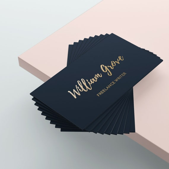 Gold Business Card Writers Business Card Design Blue Etsy