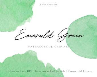 Green Watercolour Clip Art, Watercolour Splashes Clip Art, Watercolour Splotches Clip Art, Emerald Green Clipart, Commercial License