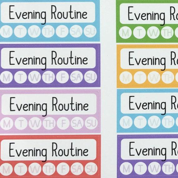 120 evening routine habit tracker 1 planner sticker etsy