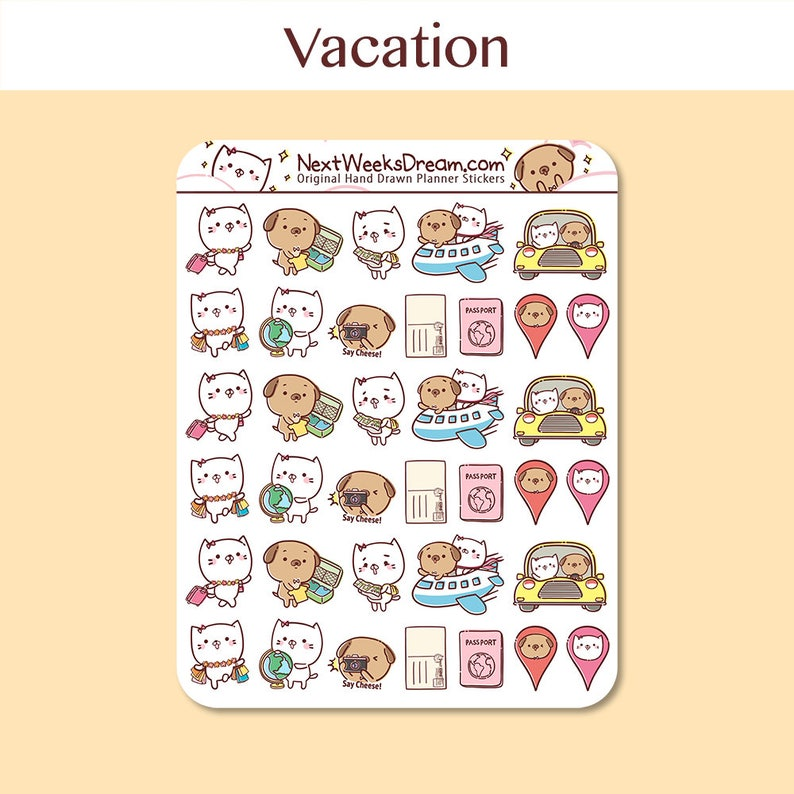 36 Stickers (Mini) - Vacation Planner Stickers, Traveling Set Planner  Sticker, Travel Reminder, Kawaii Cat Dog- NextWeeksDream SMS06