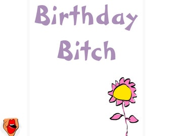 Happy birthday funny card for her, full of banter, swearwords and adult humour
