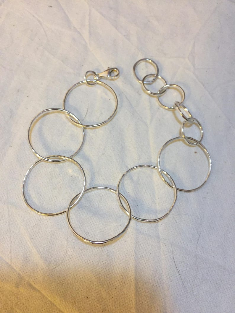 Handcrafted large link chain bracelet 925 silver Argentium textured 6.5 to 8 long