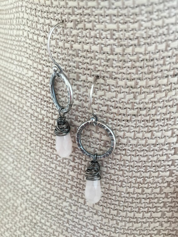 Raw silver dangle earrings 925 silver oval dangle with wrapped wire cocoon oxidized patina with hooks