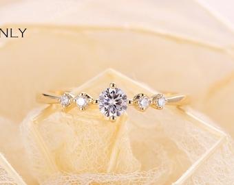 Natural diamond engagement ring Simple yellow gold ring Round shaped prong set ring Diamond moissanite ring Minimalist anniversary ring