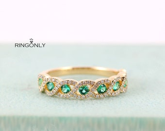Emerald Wedding Band Women Yellow Gold Vintage Unique Diamond Half Eternity Art Deco Infinity Twisted Bridal Stacking Promise Gift for her
