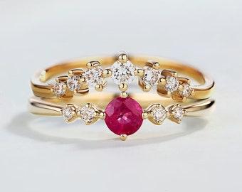 Natural Ruby wedding ring set ruby engagement ring bridal set diamond curved wedding band Half eternity band Stacking Petite Promise ring