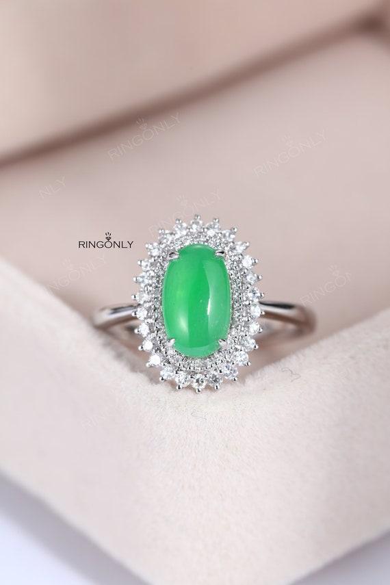 Vintage Engagement Ring Women Jadeite Jade Ring Wedding Etsy