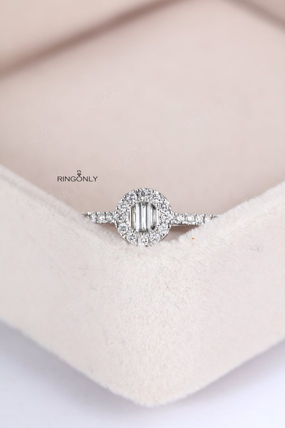 Cluster Diamond Ring Women Wedding Unique Baguette Cut Bridal Etsy