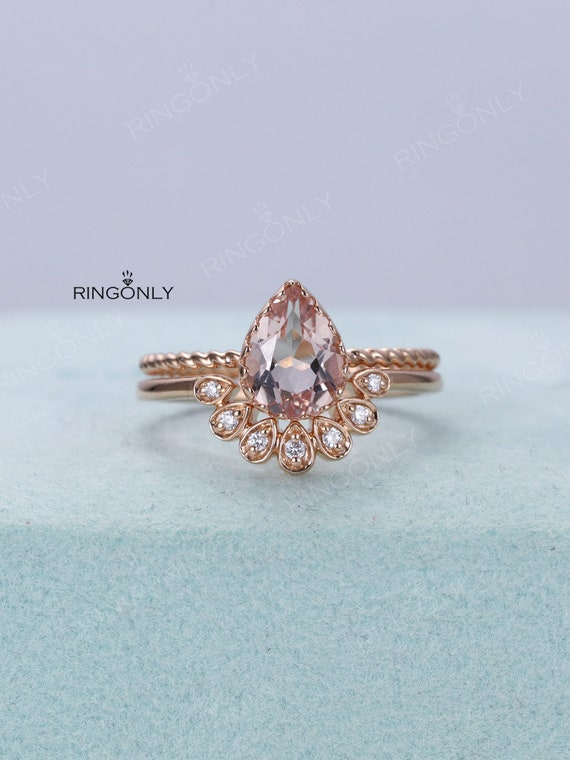 Engagement Ring Set Rose Gold Pear Shaped Solitaire Morganite Etsy