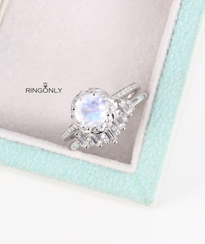 Moonstone Engagement Ring White Goldcurved Diamond Wedding Etsy