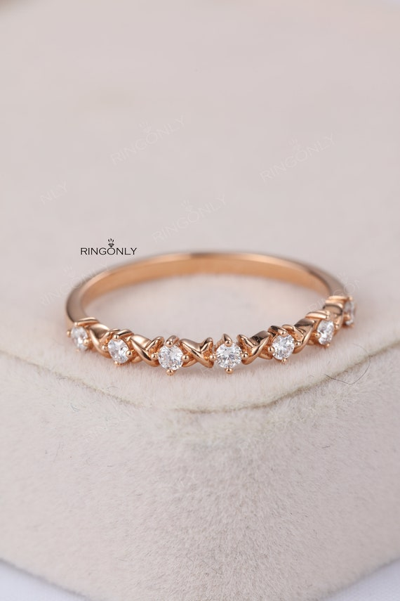 Curved wedding band Rose gold Unique Simple Promise Diamond Mathing band women Handmade custom wedding ring Valentines day gift for her
