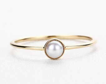 Pearl Engagement Ring Antique Vintage Women Wedding Akoya pearl Simple Minimalist Solitaire Unique Bridal Jewelry Anniversary Gift for her