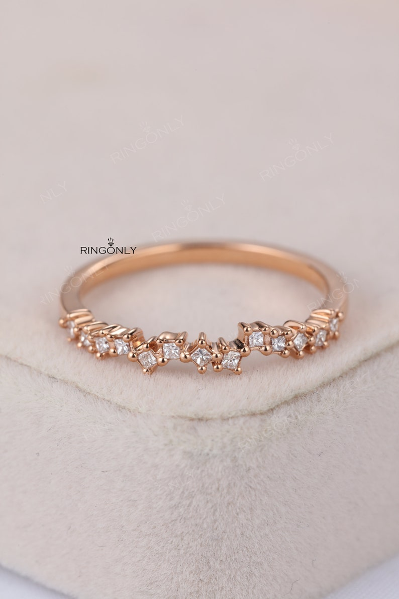 6c35ec0840ba5 Cluster diamond ring Rose gold wedding band Women Princess cut Bridal  Jewelry Matching Stacking Promise Anniversary Christmas gift for her