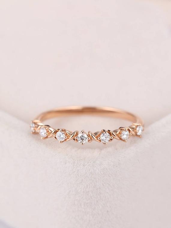 Rose Gold Ring Diamond Wedding Band Delicate Criss Cross Women Etsy