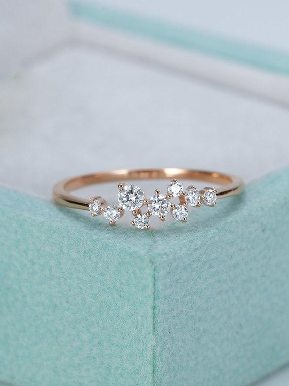 rose gold engagement ring diamond cluster ring flower