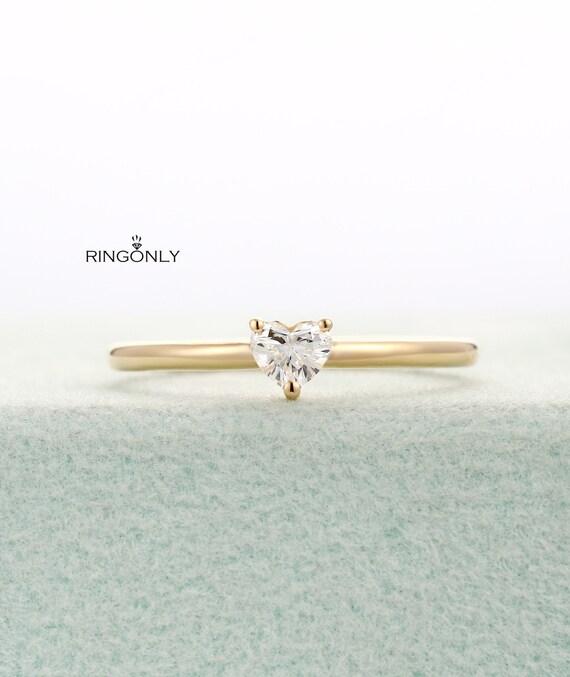 14k Gold Natural Diamond Band   Stack Ring  Diamond Wedding Ring  Minimalist Ring  Tiny Weeding Ring