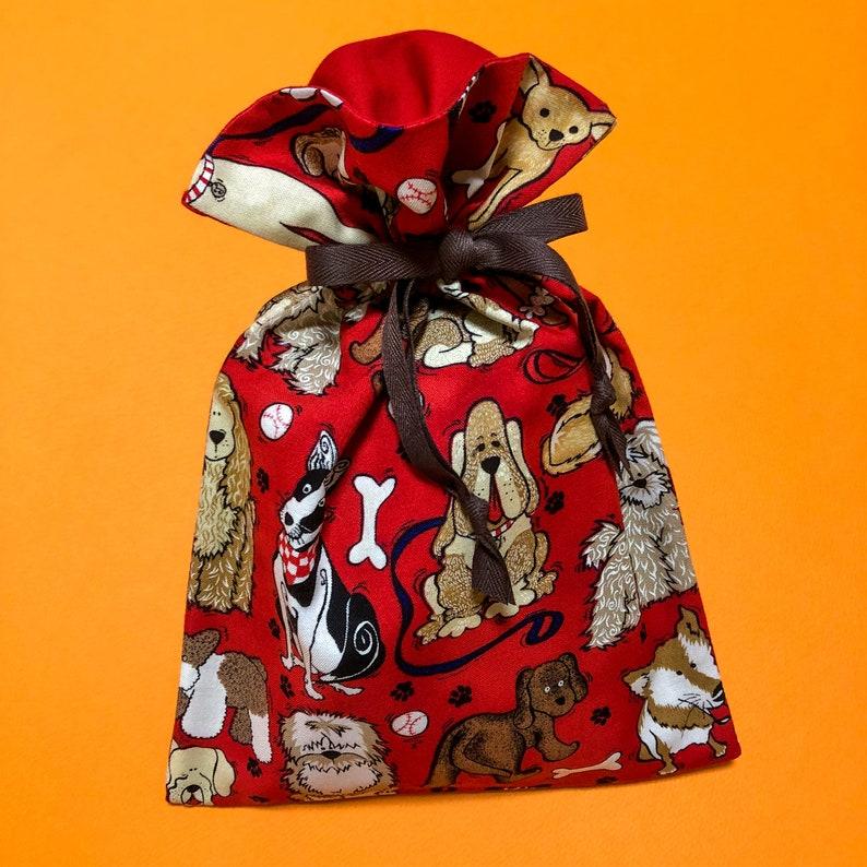 Dog Patterns Drawstring Pouch  Animal Illustration Drawstring Bag  Handmade Fabric Pouch